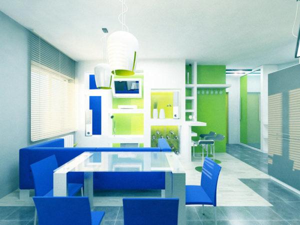 Сине-зеленая кухня