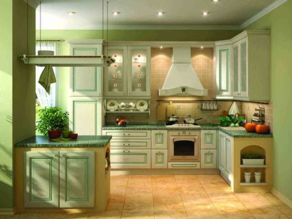 Кухня в фисташковых тонах