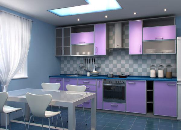 Сиреневая кухня в стиле модерн