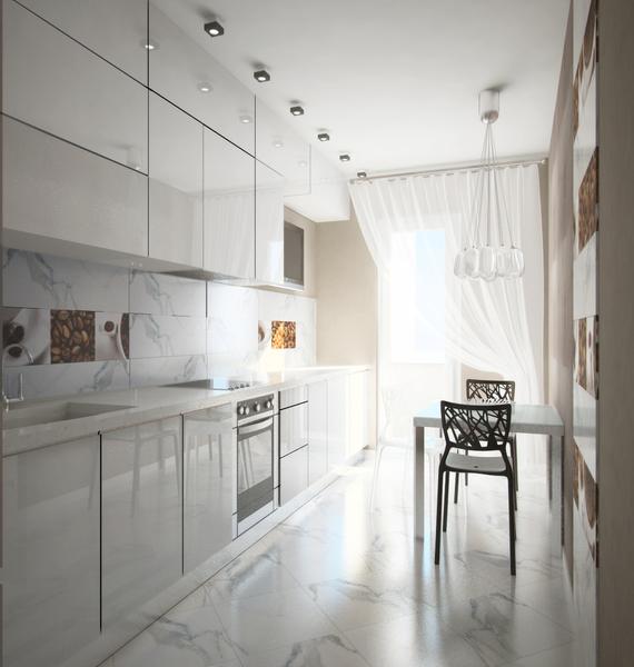 Дизайн белой глянцевой кухни