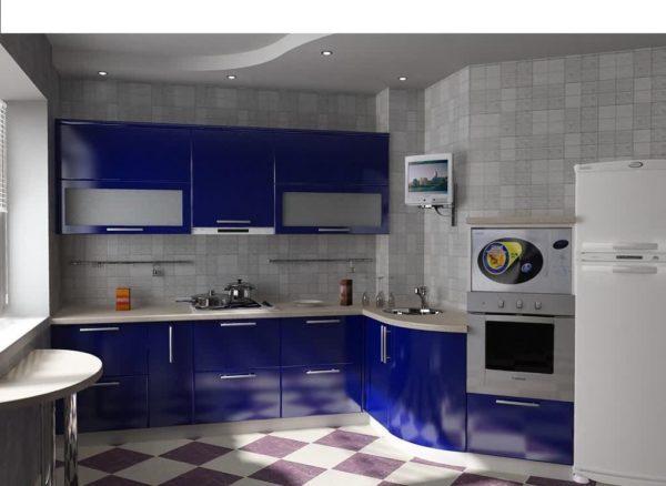 Напольное покрытие на синей кухне