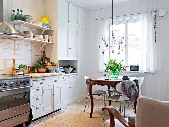 кухня в скандинавском стиле мебель освещение 50 фото