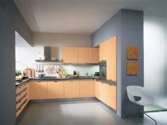 Кухня персикового цвета