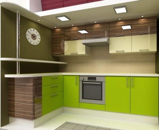 Кухня цвета венге и лайм
