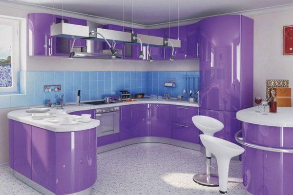 Сиреневая кухня в интерьере
