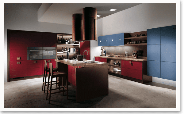 Красно-синяя кухня