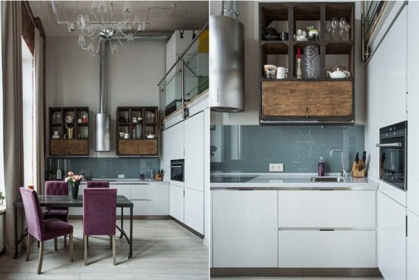 Фартук в интерьере кухни в стиле лофт
