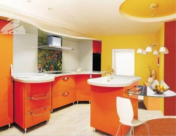 Красно-желтая кухня