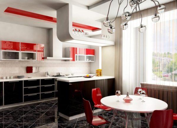 Красно-черное сочетание для кухни