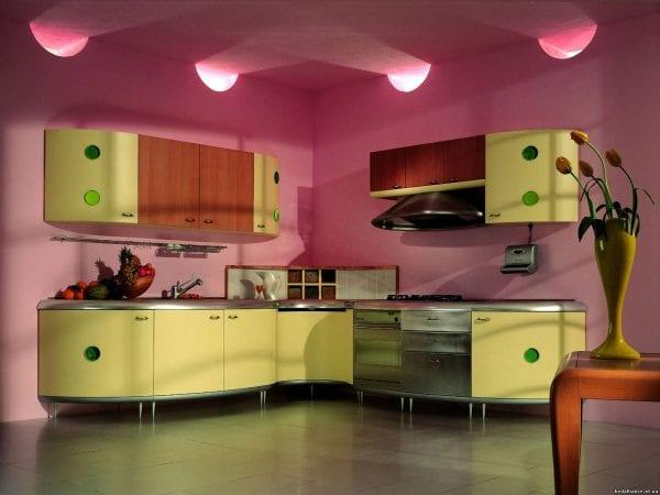 Контрастная схема в интерьере кухни