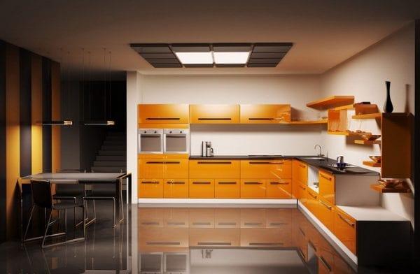 Черно-мандариновая кухня