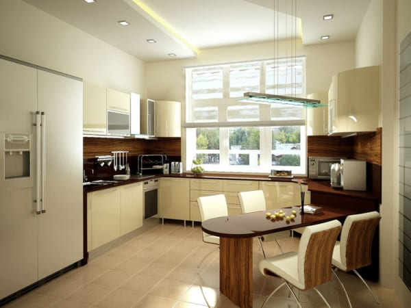 Кухонное помещение в кремово – коричневой гамме.