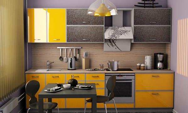 Наглядный пример кухни, выполненной в современном стиле от российского производителя (Камышин)