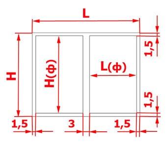 Короб с двумя фасадами: схема расчета