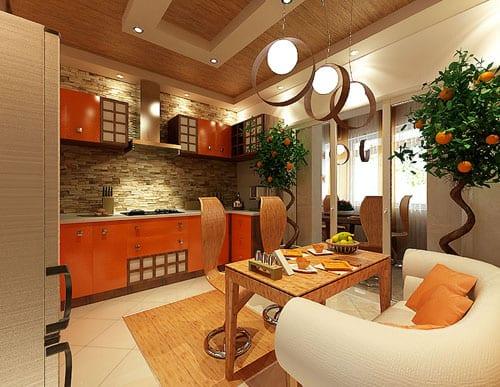Освещение кухни в эко-стиле