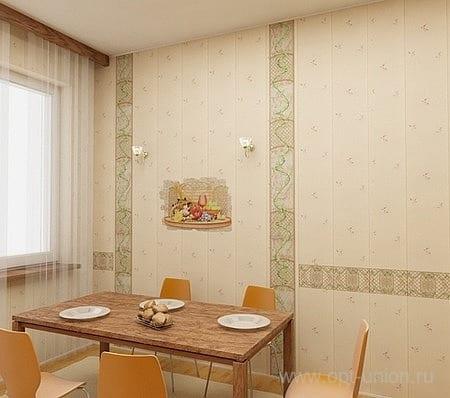 Кухня с пластиковой облицовкой стен