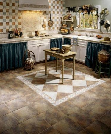 Пол на кухне-столовой в стиле прованс
