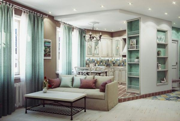 Кухня-гостиная в стиле прованс зонирование с помощью мебели