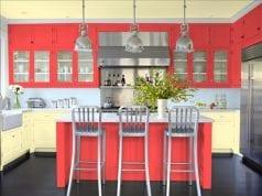 Дизайн кухни с использованием кораллового цвета
