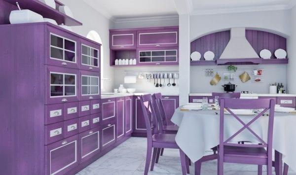 Интерьер с мебелью цвета лаванды