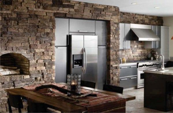 Отделка кухни искусственным камнем
