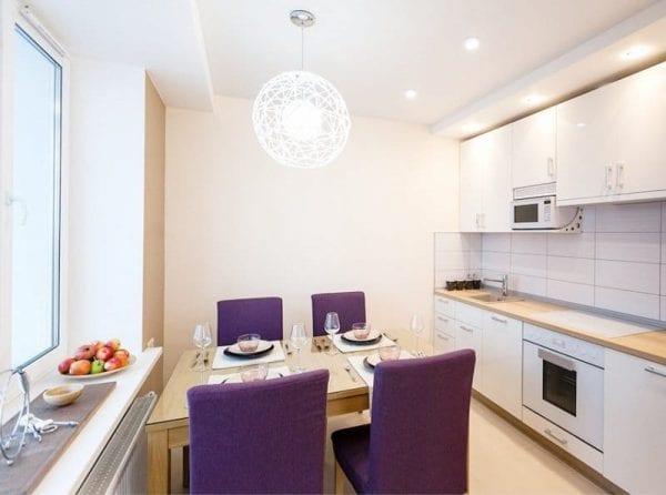 Освещение кухни площадью 9 кв. метров