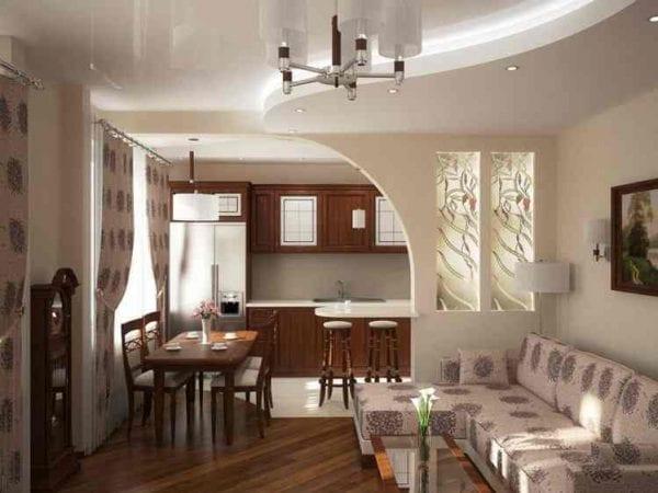 Кухня-гостиная 19 кв. метров. с аркой