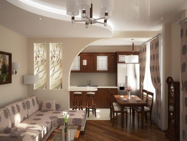 Стандартный пример объединенной кухни с гостиной в хрущевке