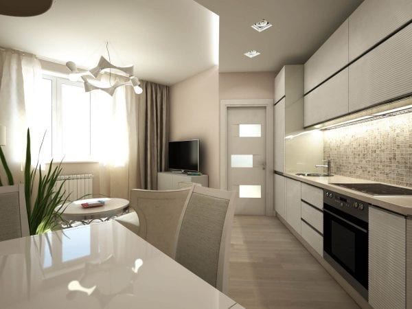 Натяжные потолки с мебелью на всю высоту кухни