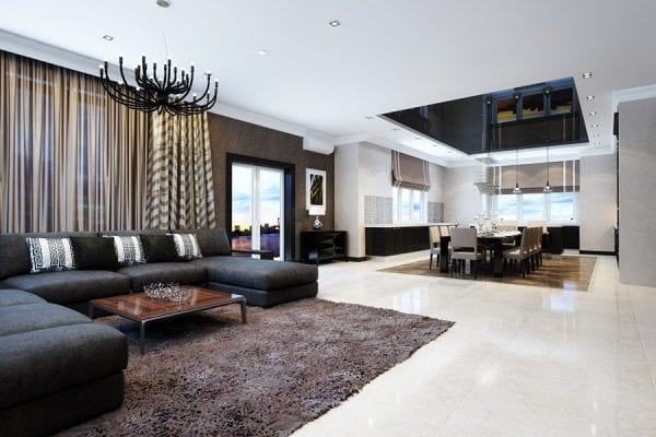 Гостиная, кухня и столовая в стиле модерн