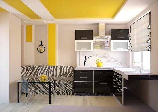 Декоративные детали в черно-желтой кухне