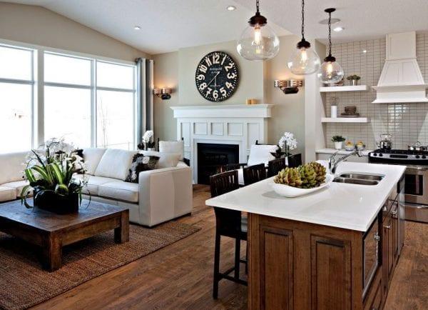 Дизайн кухни-гостиной в частном доме