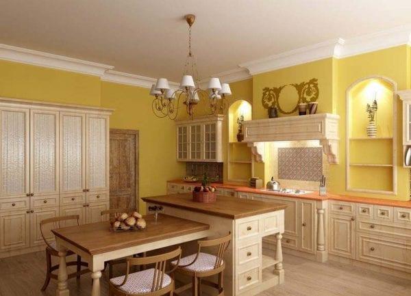 Желто-зеленый дизайн кухни