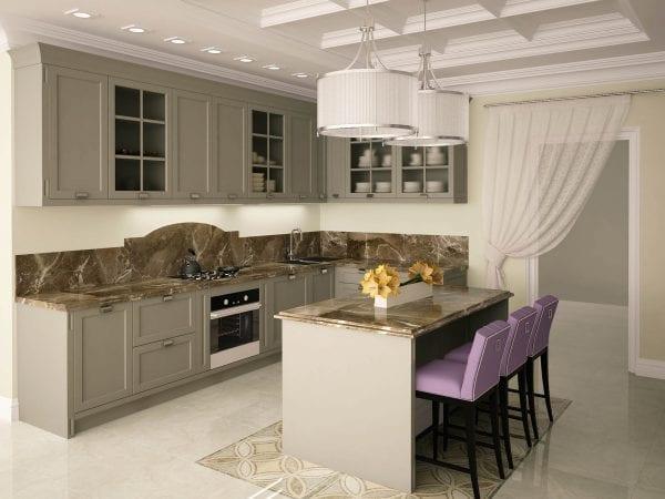 Кухня с островом в неоклассическом стиле
