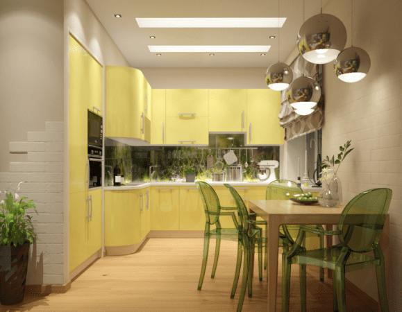 Небольшая кухня в желто-молочной палитре