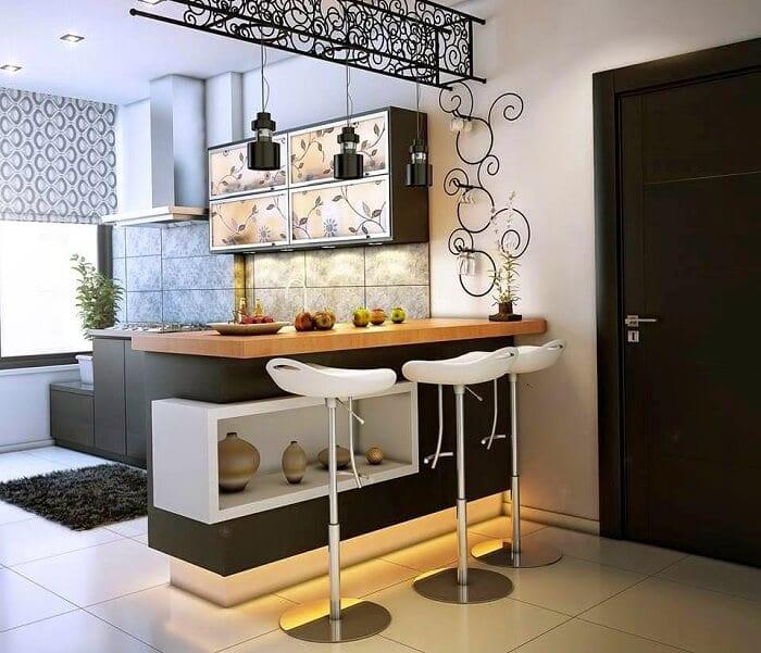 барная стойка для кухни в квартире или доме из разных материалов
