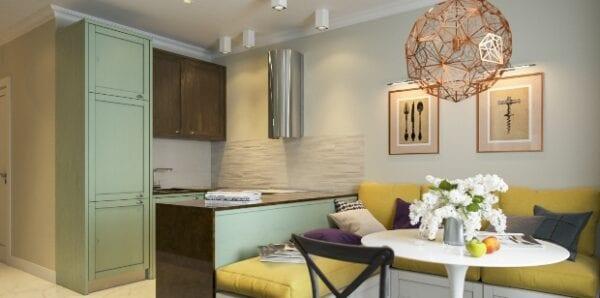 Кухня-гостиная 12 кв.м с диваном