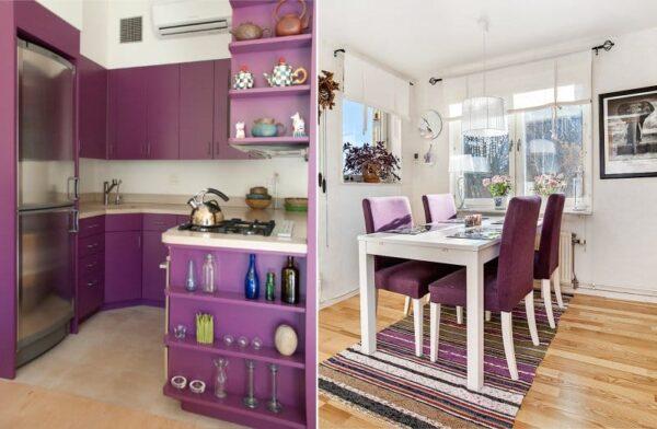 Сочетание фиолетовый и белый в интерьере кухни