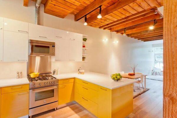 Желтая кухня с деревянной столешницей
