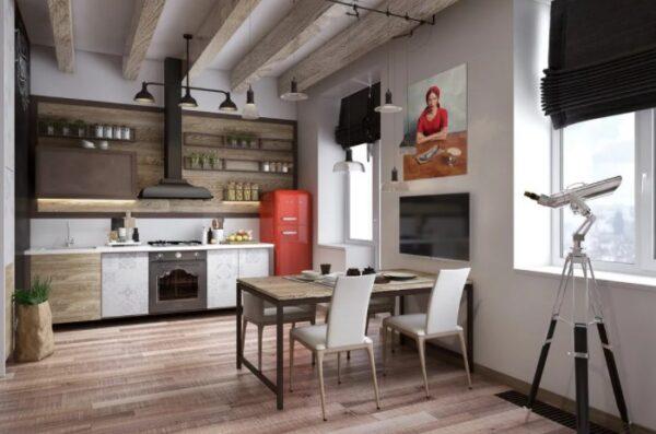 Кухня в стиле лофт с белым гарнитуром, черной бытовой техникой