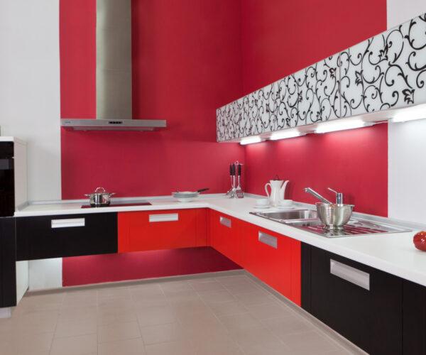 Обои для красно-черно-белого кухонного гарнитура