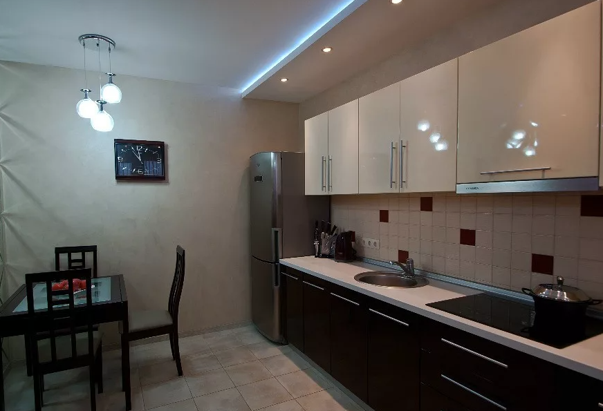 Современное освещение на кухне без натяжного потолка